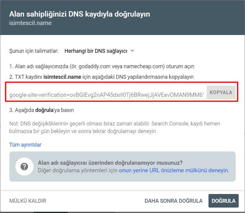 DNS ile Google Search Console Kaydı
