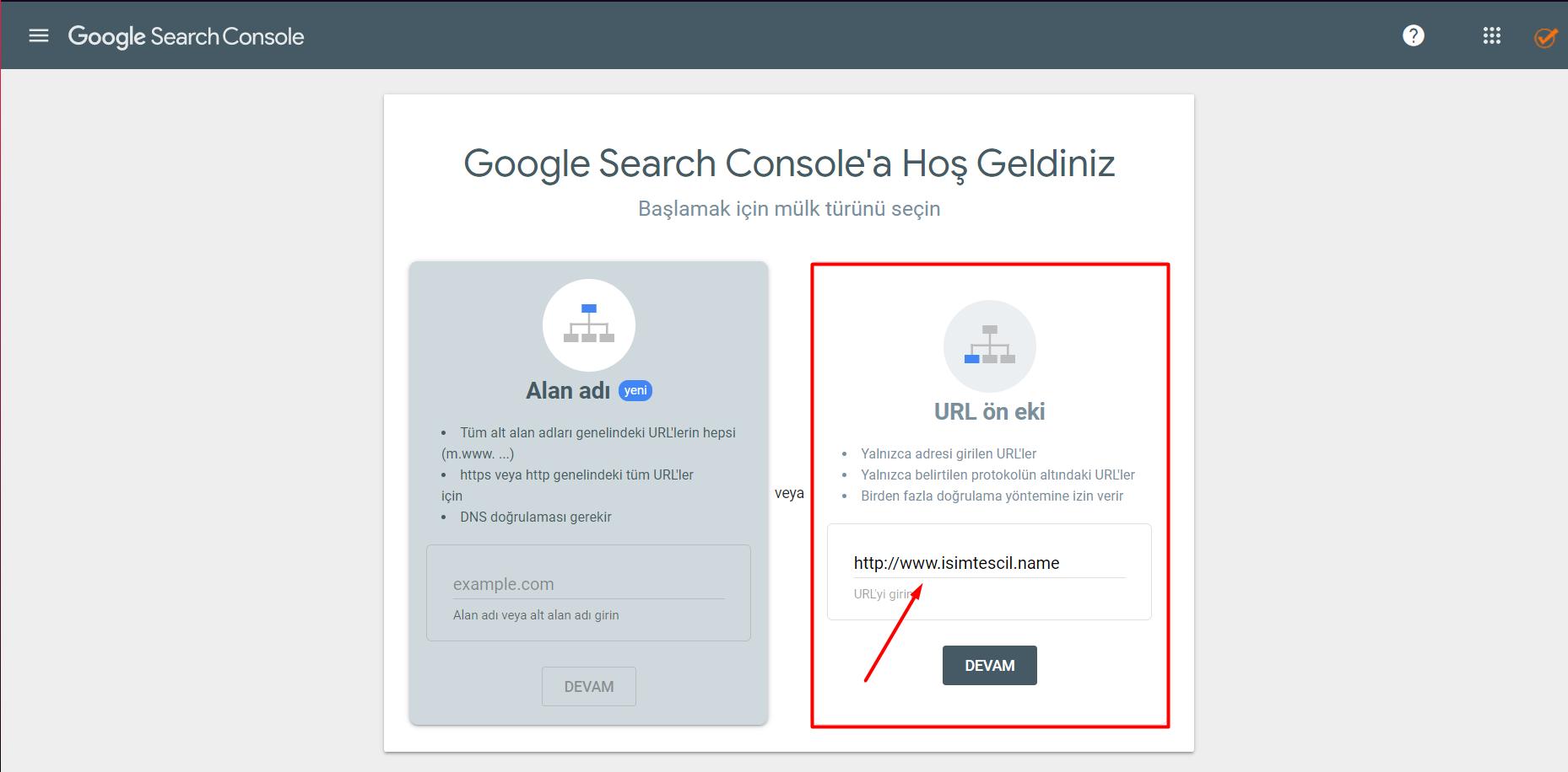URL Ön Eki ile Google Search Console Kaydı