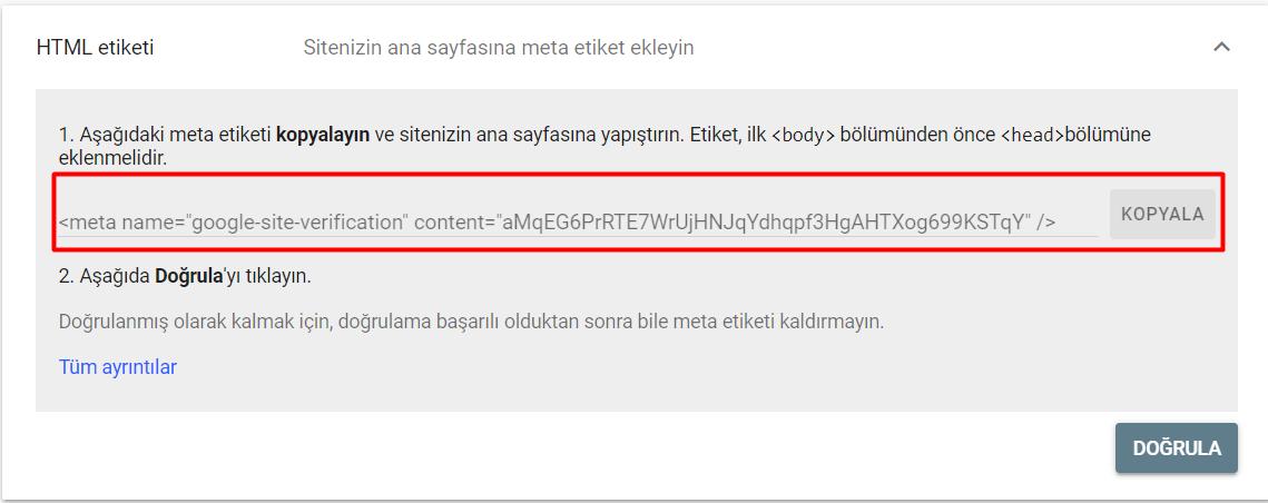HTML Etiketi ile Google Search Console Kaydı Yapmak