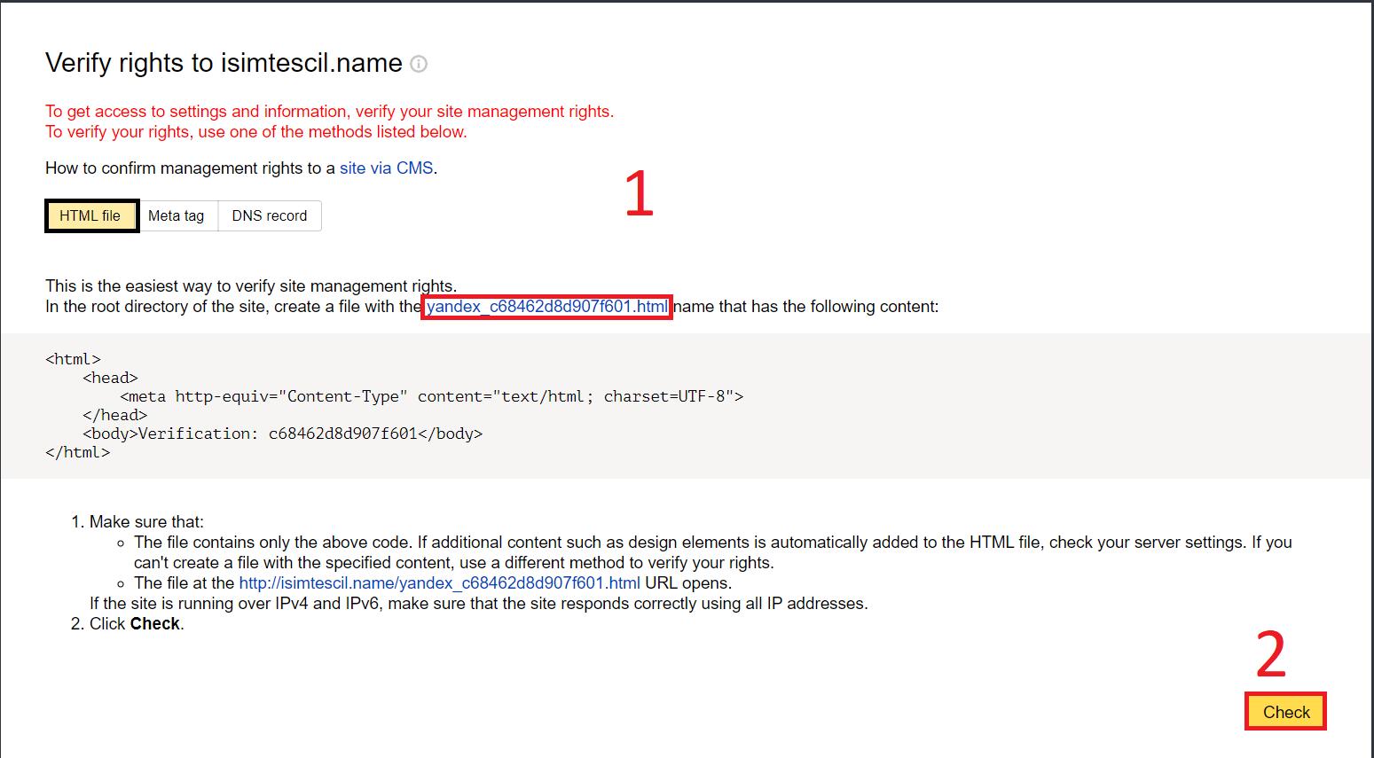 HTML Dosyası ile Yandex Webmaster Tools Kaydı