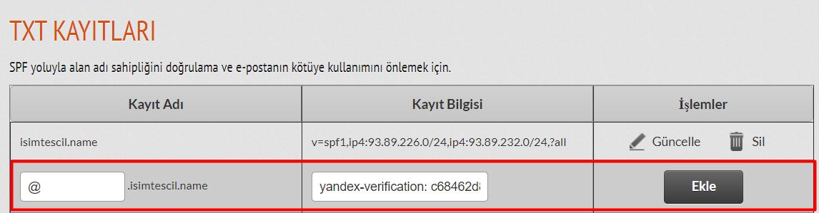 Hybrid Panel'den DNS Kaydı Eklemek Yandex