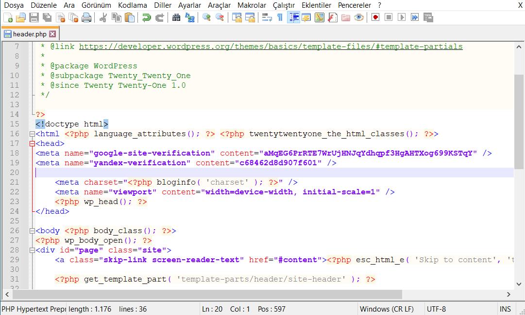 header.php Dosyası ile Meta Tag kaydı eklemek