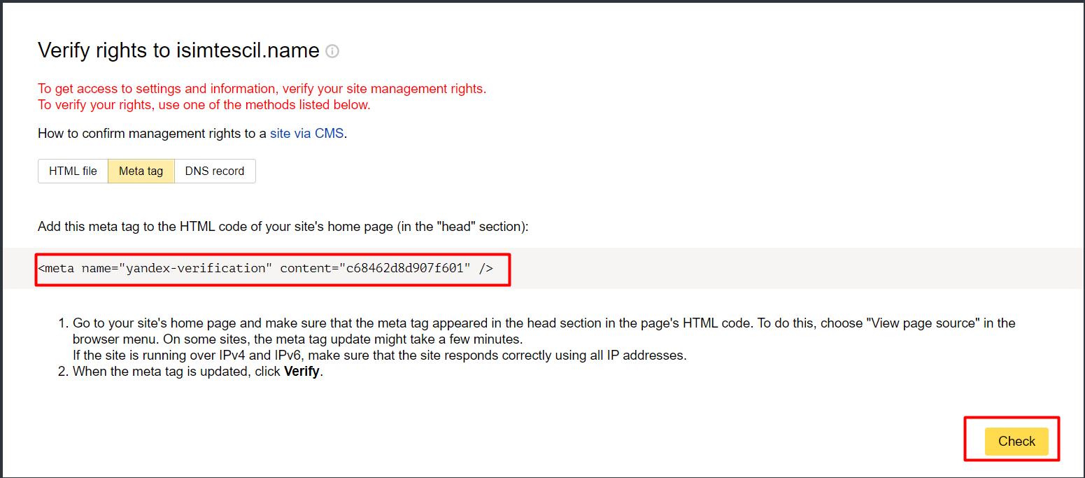 HTML Meta Tag ile Yandex Webmaster Tools