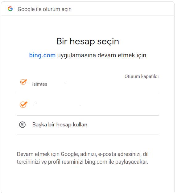 Bing İçeri Aktarılacak Google Hesabı Seçimi