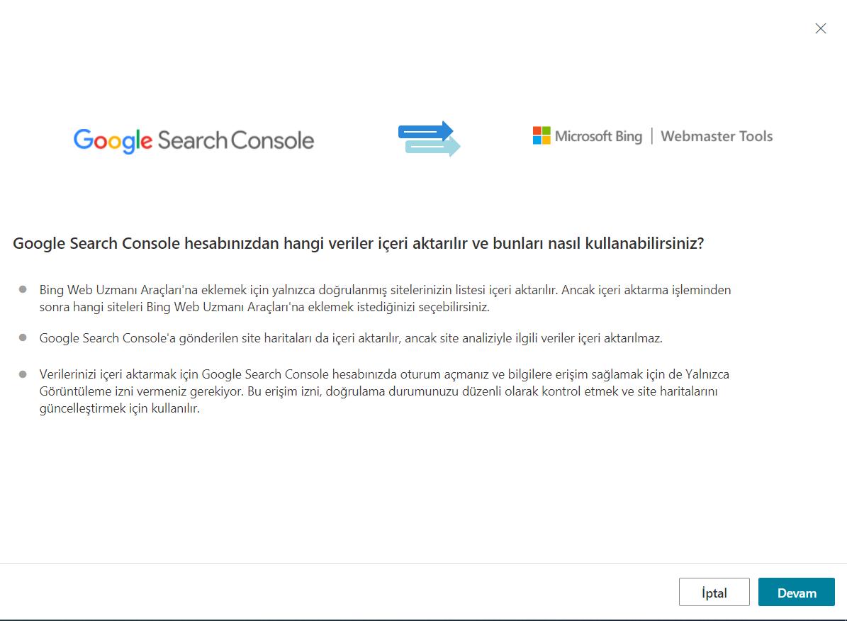 Google Search Console'dan Bing Webmaster Tools'a İçeri Aktar