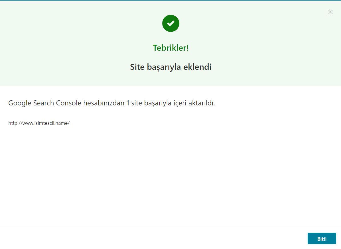 Bing Webmaster Tools İçeri Aktarma Başarılı