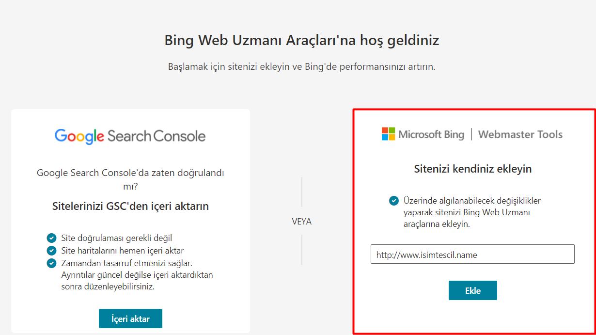 XML Dosyası ile Bing Webmaster Tools Kaydı