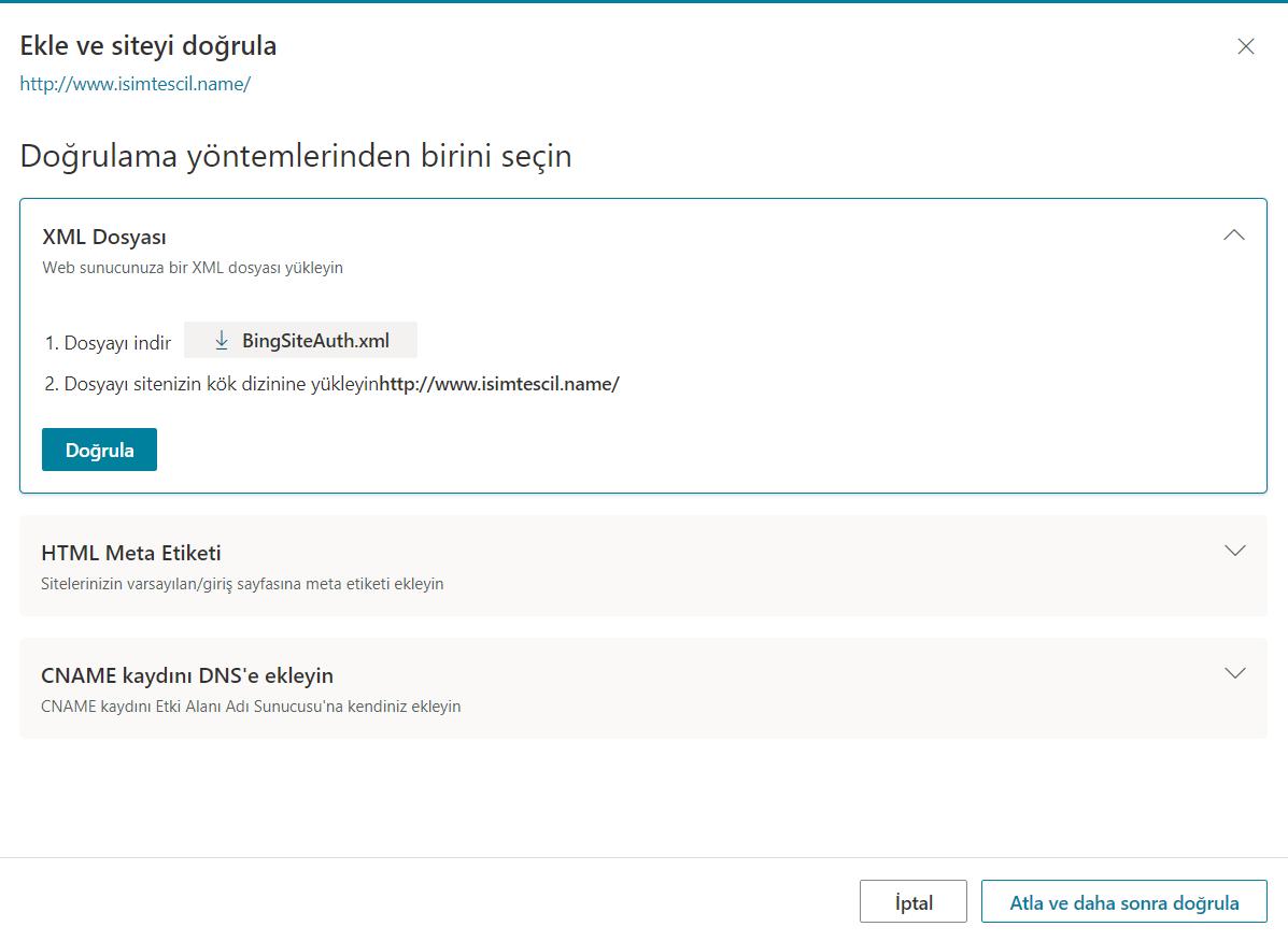 XML Dosyası ile Bing Webmaster Tools Site Ekleme