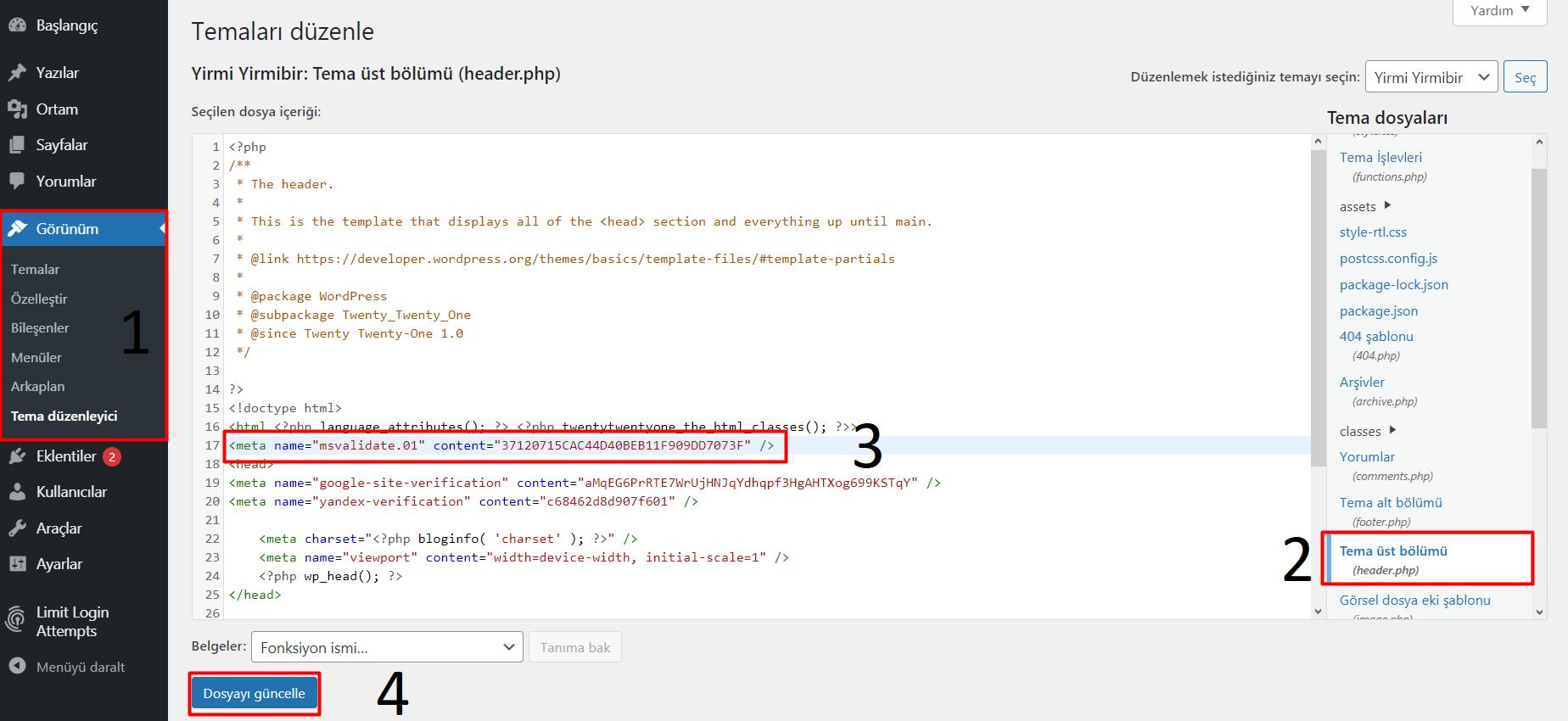 Wordpress Siteler için Bing Webmaster Tools Ekleme
