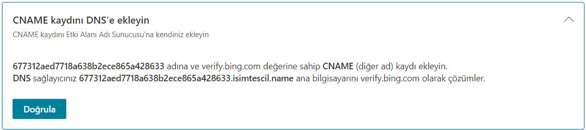 DNS Kaydı ile Bing Webmaster Tools Site Ekleme