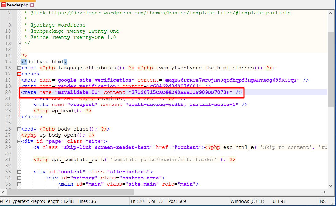 header.php dosyası ile Bing Webmaster Tools Kaydı