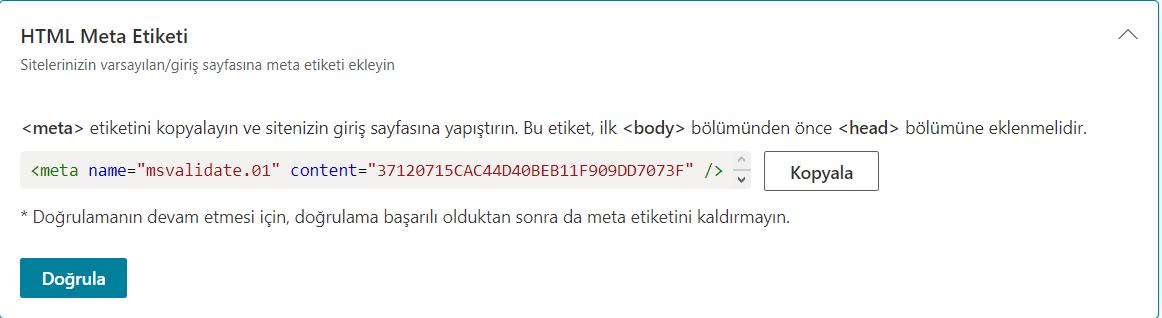 HTML Meta Tag ile Bing Webmaster Tools Kaydı